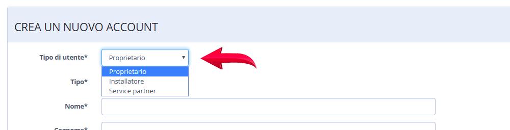 tipologia registrazione